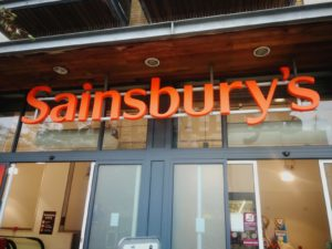 Sainsbury's shop front, to illustrate article about Sainsbury's copywriting