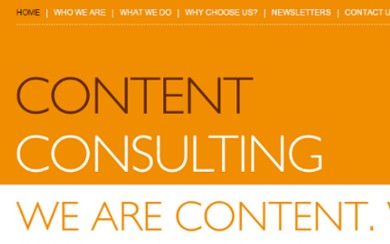 screen grab from Content Consulting website