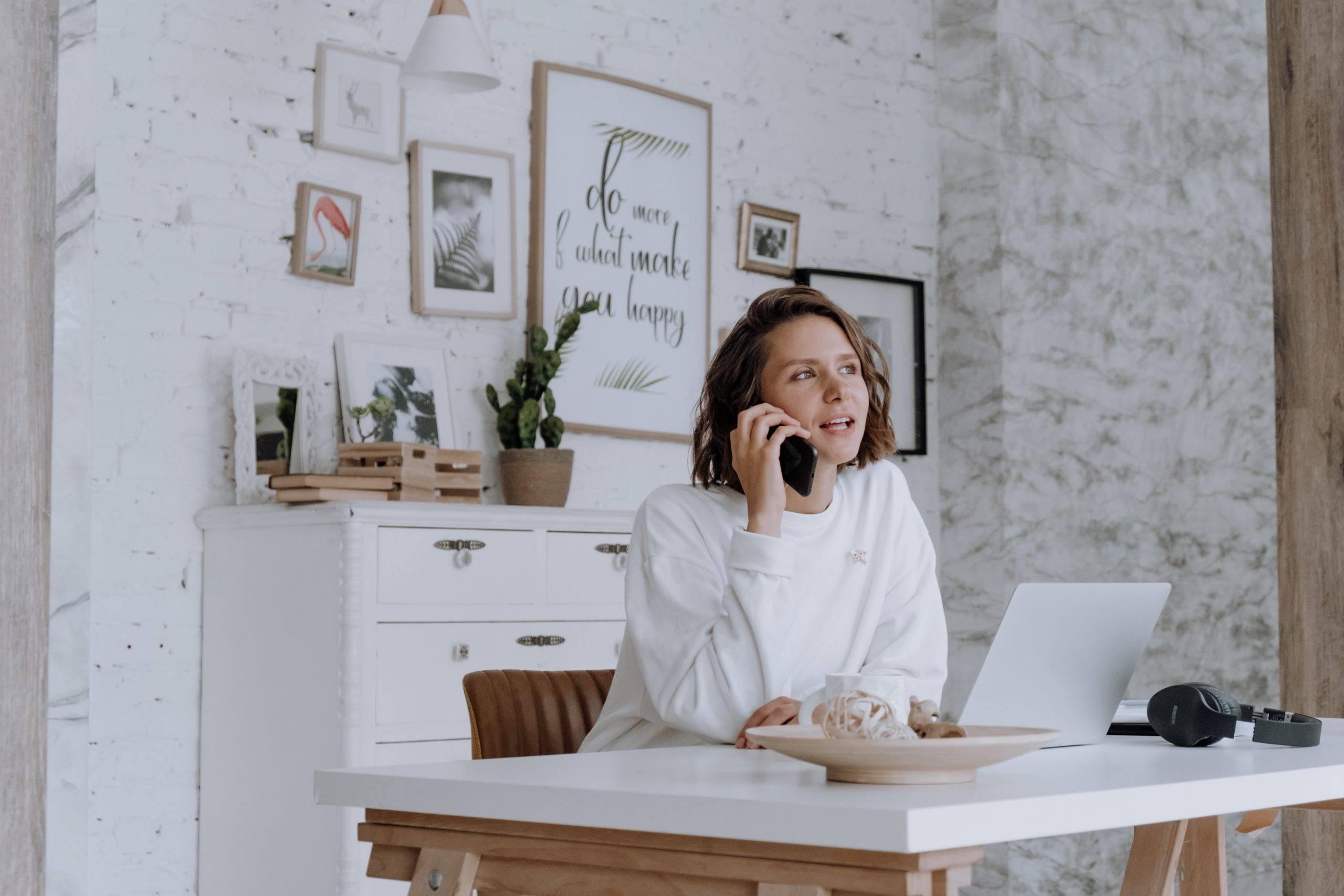 Home worker on phone